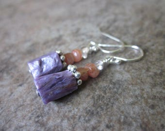 Charoite Earrings, Sunstone, Rose Quartz, 925 Sterling Silver, Mixed Stone, Reiki Stones, Intuitive Design, Natural Gemstone, Philosophia