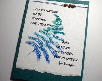HEALING NATURE ~ Watercolor Greeting Card with quote by John Burroughs