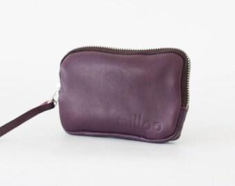 SALE Zipper small pouch in violet purple leather, coin purse zipper phone case money bag zipper-The Myrto Zipper pouch