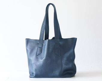 Blue leather tote bag, raw edge leather purse shopper bag shoulder womens large market bag unlined leather tote  - Calisto bag