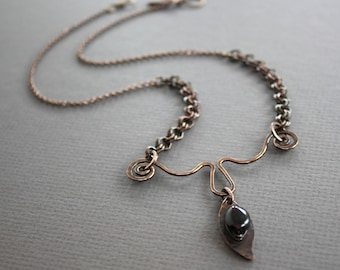 WHILE SUPPLIES LAST - Copper necklace with leaf and nugget shape garnet stone - Y - necklace - Gemstone necklace
