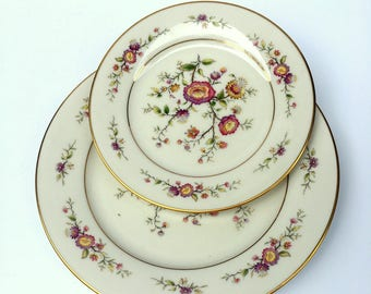 Vintage Noritake Porcelain Dishes,Asian Song 7151,1970s,Multi Floral, Salad and Bread Plate,Moriage,Kitchen and Dining,Ivory Background