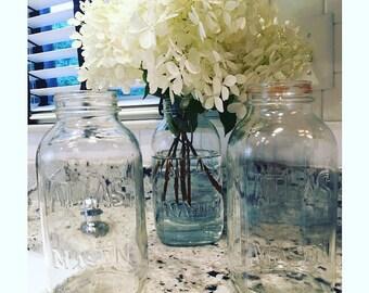 Lot of 3 Vintage VTG Large Clear Glass Atlas Mason Jars 9.25 inches Farm House Decor