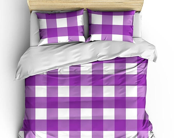 Duvet Cover, Matching Bed Set, Gingham Check bed set, Gingham print bedding, Dorm Decor, Men's bed set, Grad Gift, Teen Room Decor, Beding