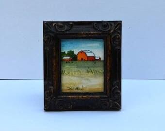 Red Barn Miniature Framed Original Watercolor