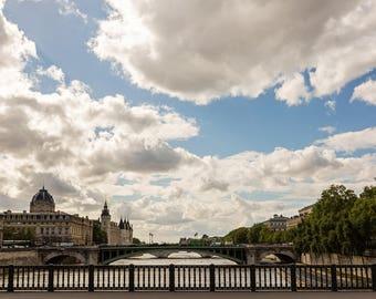 Paris Print, Paris Photography, Seine River Paris Art Print, Travel Photography, Cloud Photo, Paris Photo, Paris Art Decor - Paris Skies