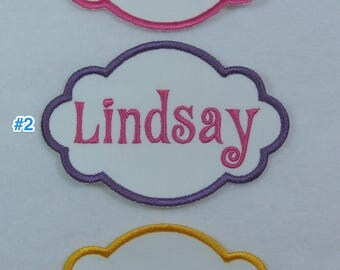 Iron on Personalized Single Name Patch Fabric Embroidered Iron On Applique Patch MADE TO ORDER