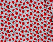 2 yards RED POINSETTIA printed FABRIC, Crafts, Home Decor, Quilting, Cotton Fabric, Red, White, Green, Christmas, Holiday,Musical Notes, DlY