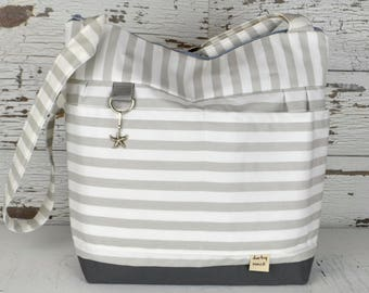 Purse or Tote bag in Stockholm Cement Grey Stripe, waterproof base -Lightweight, washable and durable! by Darby Mack made in the USA