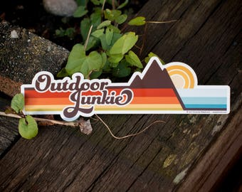 OUTDOOR JUNKIE Bumper Sticker : Car Decals, Nature Lover, Explorer, Wanderer, Hiking Gifts for Women, Hippie Stickers, Outdoorsy Stickers