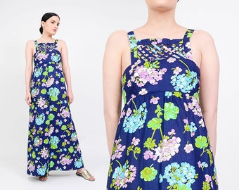 70s Floral Maxi Dress | Empire Waist Caged Cut Out Sundress | Boho Hippie Cotton Sundress | 1970s Long Dress | Navy Blue Purple | XS