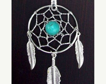 SALE Dream catcher necklace in silver with turquoise and 1-inch dream web & three feathers