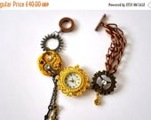New year sale Bracelet Steampunk Watch jewelry cogs hands gears charms Swarovski crystal Jewellery