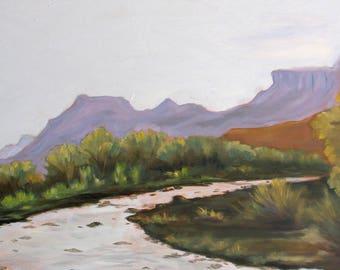 Large Southwest landscape original oil painting, wall decor, home decor, desert painting, impressionist landscape art, janice trane jones
