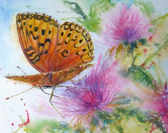 butterfly giclee print, orange butterfly in purple flowers watercolor print,butterfly painting,butterfly garden art,small giclee prints