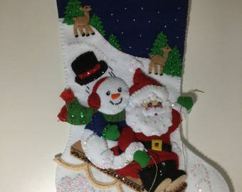 "Bucilla Completed Felt 18"" SLEIGH RIDE Christmas Stocking"
