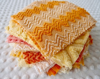 Vintage Chenille Fabric Quilt Squares - 30 - 6 inch squares, orange, gold & yellow - 500-283