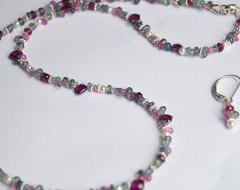 Beaded Sapphire, Rhodolite, Purple Garnet, Tourmaline and Pearl Necklace with Sterling Silver and Free Earrings, 18 Inch Beaded Necklace