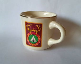 Vintage Boy Scouts of America mug 1970s BSA National Camping School with gold rim