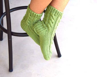 Hand knit socks cable knit socks bed socks light green womens socks gift for her handmade birthday Christmas gift under 35 warm socks