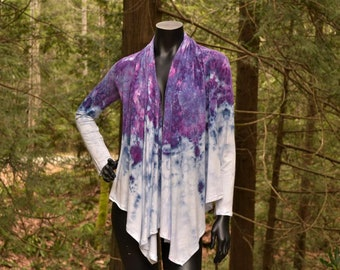 Ultra Violet - Long Sleeve Tie Dye Cardigan, tie dye Clothing, Tie Dye clothes, Womens Tie Dye, plus size clothing,