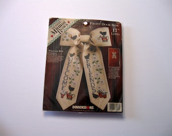 Cross Stitch Kit, Front Door Bow, Welcome Friends, New UnOpen, 17 inches Long, Welcome Sign, Debbie Mumm Bows, NormasTreasures