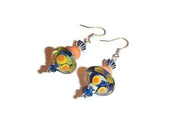 Lampwork Earrings Blue and Orange Bright Bicone Earrings Bright Lampwork Jewelry