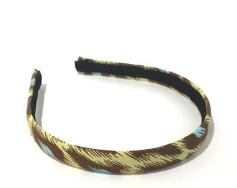 Fall Aztec Headband - Chocolate Brown, Chartreuse and Turquoise - Choose Width - Fabric Covered Headband for Girls & Adults