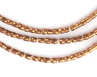 260 Vintage Copper Tube Beads 3-5x2mm - African Copper Beads - Jewelry Making Supplies - Made in Ethiopia ** (MET-TUB-CPR-257)
