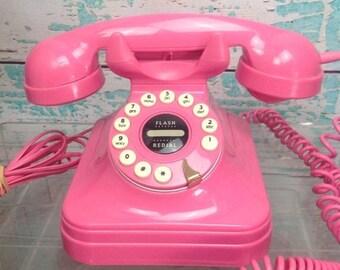 SALE Vtg Vintage 1980s 80s Hot Pink Touch Tone Push Button Phone Telephone Retro Style. Polyconcept, USA VGUC