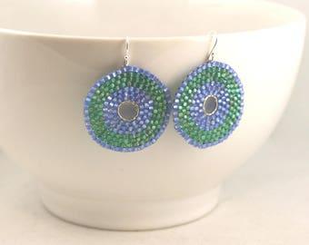 Bead Earrings . Beadweaving Jewelry . Seed Bead Earrings . Round Beaded Earrings