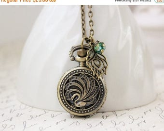 VACATION SALE- Peacock Pocket Watch Necklace in Antique Brass. Gift for her under 30 usd.