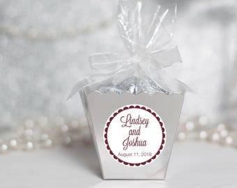 12 Wedding Boxes - Custom Wedding Favors - Silver Wedding Favor Boxes- Personalized Wedding Favors - Gold Favor Boxes - Candy Favor Boxes