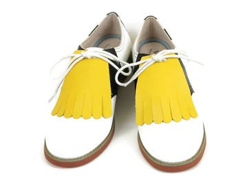 Yellow Golf Shoes Kilties, Golf Shoes for Women, Shoe Accessories, Shoe Tongue,1950s Fashion, Golf Gifts, Lindy Hop, Shoe Decoration