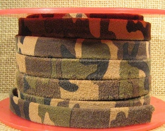10mm Flat Suede - Camouflage - Choose Your Length