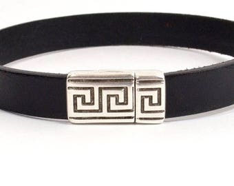 25% Off Greek Border Magnetic Clasps for 10mm Flat Leather - Antique Silver - 10FCL-P9749-AS - Choose Your Quantity
