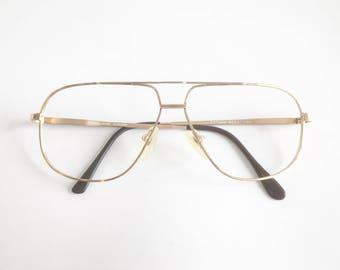 Vintage 1980's Premiere Vision Saturn Gold Aviator Double Bar Eyeglasses