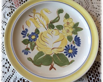 Red Wing China BRITTANY DINNER PLATES Yellow Rose Blue Flowers, Handpainted, Cottage Chic