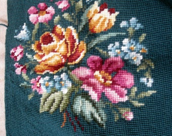 Antique Rose Unfinished Needlepoint on Canvas, Hand Stitched, Pillow Cover, Chair Cover, Needlework, by mailordervintage on etsy