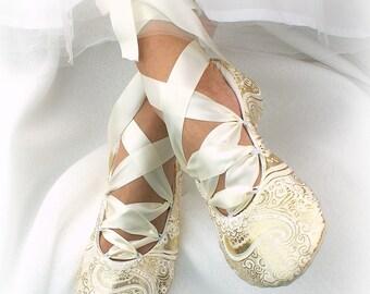 Wedding Flats Gold, Celtic Lace Up Bridal Shoes Flats, Custom Flats