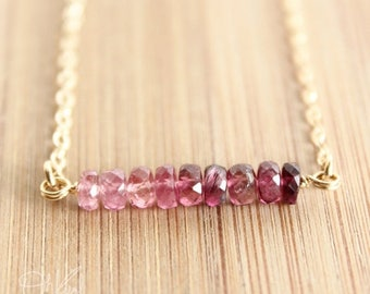 ON SALE Pink Ombre Necklace - Pink Tourmaline Necklace - 14K Gold Fill