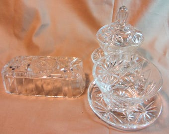 Anchor Hocking Pressed Glass Cream & Sugar, Serving Plates, Butter Cover, Star of David Glass Serving Set, 6 pc Glass Set Anchor Hocking