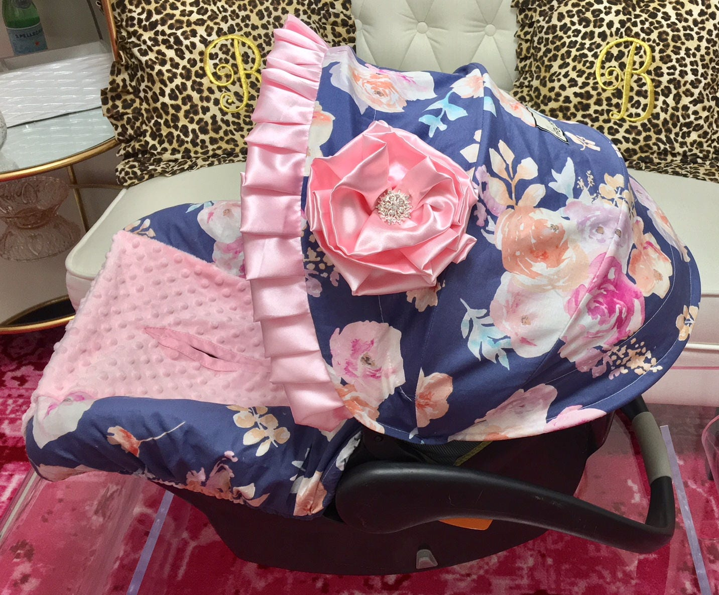 Baby Girl Infant Car Seats: Baby Girl Infant Carseat Covers Navy And Pink Floral Car Seat