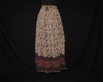 vintage India cotton skirt 90s hippie broomstick skirt earthy ethnic floral print free size to XL