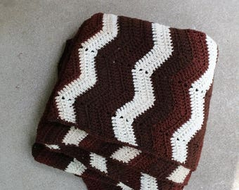 SALE SALE SALE Vintage Afghan Blanket Crocheted Ripple Stripes Chevron Home Decor Brown Cream Fall Winter Style