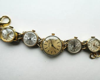 Steampunk bracelet - vintage mechanical clockwork watches jewelry - The Doctor - time traveller - Timeless - infinity - steampunk weddings