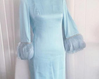 40% OFF Christmas in July Sale Vintage Hollywood Glamor Gown -- Baby Blue with Feather and Rhinestone Sleeves -- Size S-M