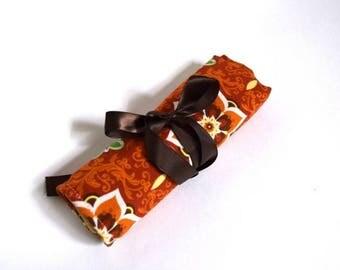 ON SALE Large Crochet Hook Holder - Orange Flowers 1