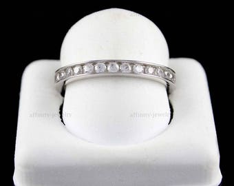 Sterling Silver 925 Simulated Diamond Cubic Zirconia Epiphany Channel Set Eternity Wedding Band Ring Size 9