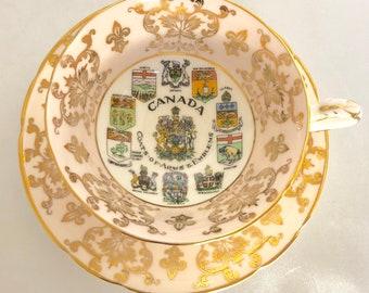 Vintage Paragon Bone China Pink Canada Tea Cup and Saucer